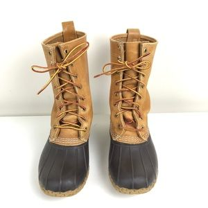 """L.L. Bean Tall 8"""" Duck Boots Tan and Brown - 7"""